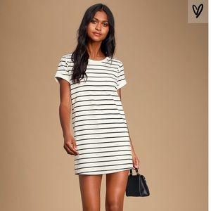 Lulus Cafe Society Black & Cream stripe dress